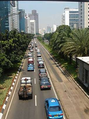 Traffic jam in Jakarta city centre, Indonesia. Population growth and