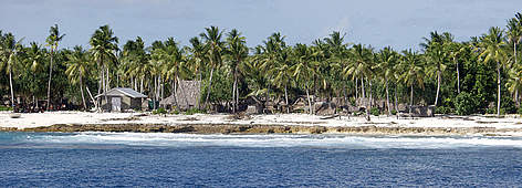 Orona settlement on the small island nation of Kiribati in the South Pacific Ocean. rel=
