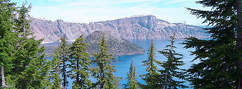 Crater Lake National Park, in the headwaters of the Klamath and Rogue Rivers, USA. rel=