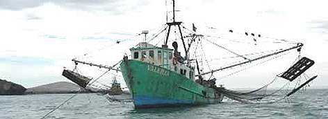 Shrimp fishing boat, Gulf of California, Mexico. rel=