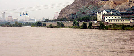 The Yellow River runs through Lanzhou the capital of Gansu province, China. rel=