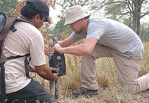 Leonardo Dicaprio fixes a camera trap with WWF staff Pradeep Khanal at Nepal's Bardia National Park.