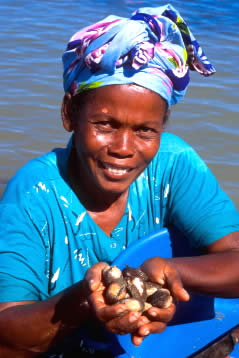 Woman collecting sea food in the tidal marshes of Nosy Be Island, Madagascar. / &copy;: WWF-Canon / Hartmut JUNGIUS