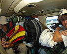 Expedition team members and luggage transferred with helicopter