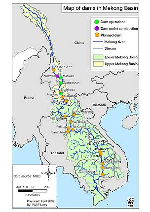Map of the Mekong dams.