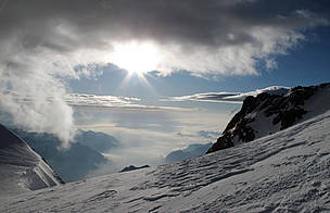 The name Monte Rosa is said not to derive from the Italian word 