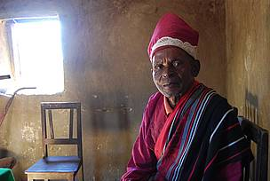 Mpanjaka, King of the Bara people, at 80 years old is still an active rice farmer. He started planting rice the SRI way a year ago.