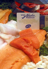 MSC- certified Alaska salmon on fresh fish counter. / &copy;: Whole Foods