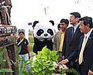 Mr. Thira Sutabutra , Minister for Agriculture and Cooperatives, Mr Suthiporn Chiripanda , Deputy Permanent Secretary and Mr Shinici Sata , Vice President of Bridgestone Group Thailand open the new NAEC