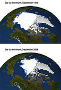 Sea ice extent comparison at the Arctic - mimumum ice reach comparison between 1979 and 2008. / &copy;: NASA