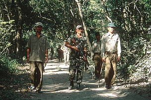 Armed soldiers and game scouts begin a morning patrol in search of poachers in Royal Bardia National Park, Nepal  