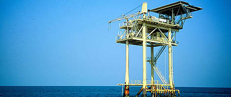 Oil rig, Gulf of Mexico, Texas, US. rel=