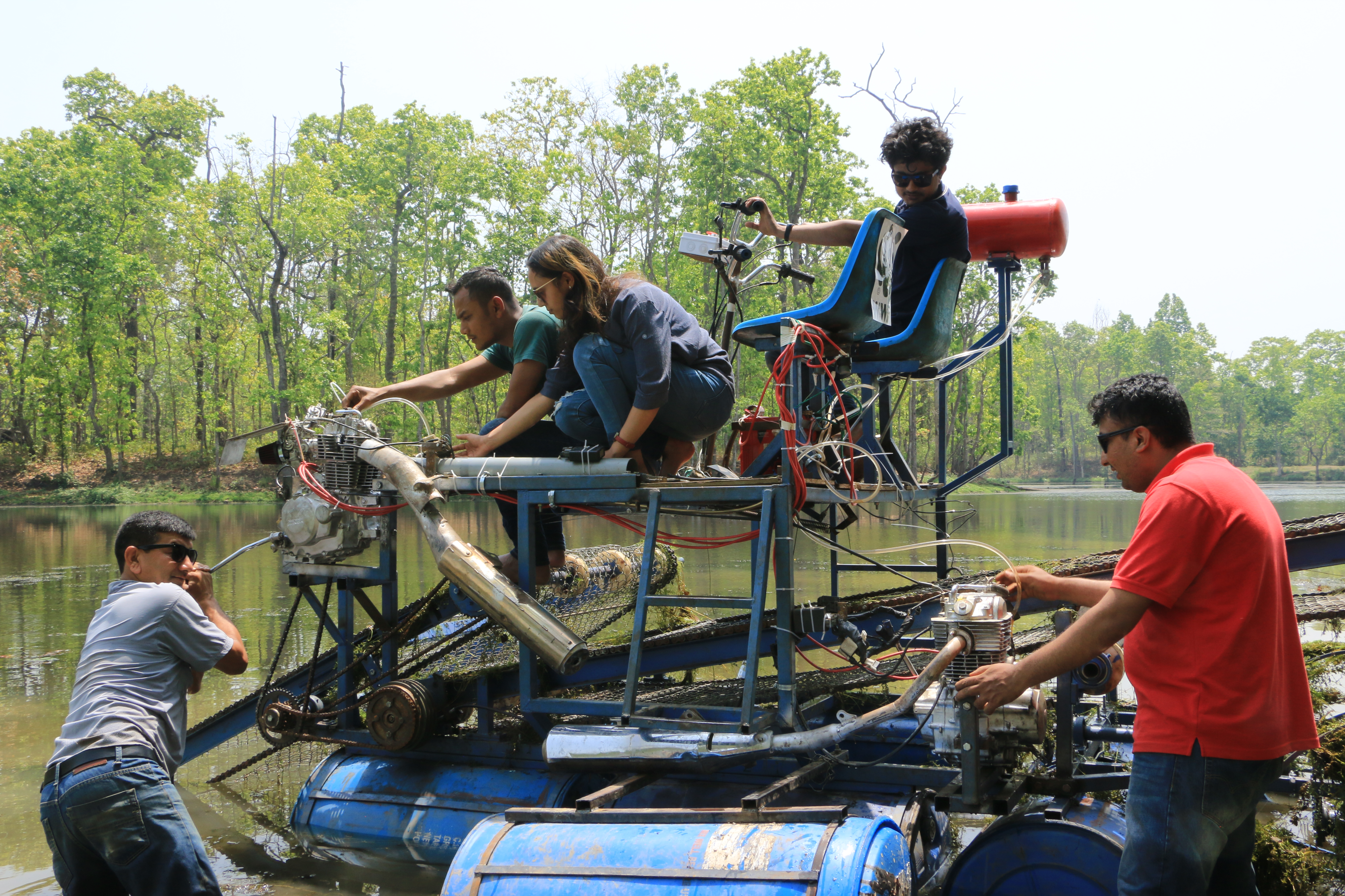 Upcycled water mower introduced for removal of invasive species