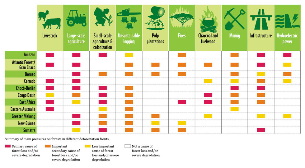 Deforestation pressure table