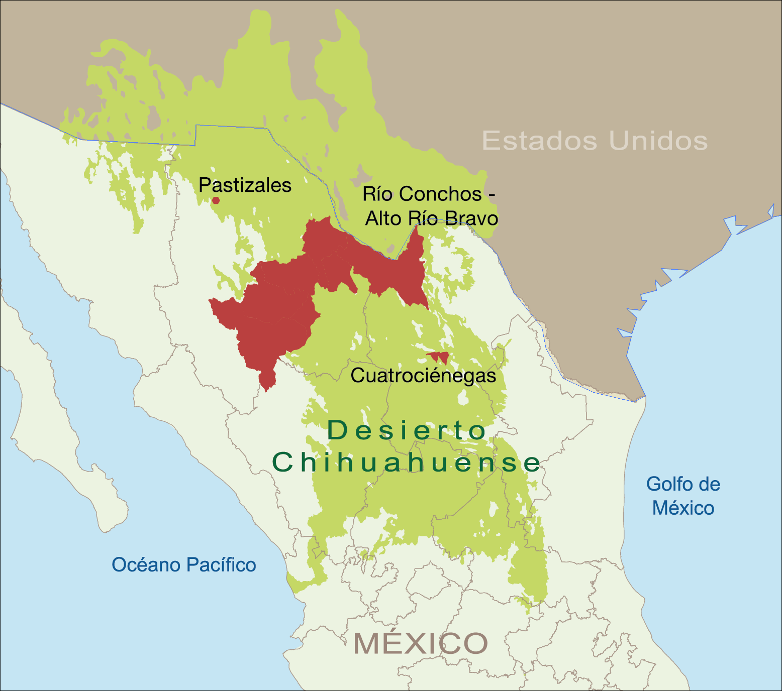 Mapa Desierto Chihuahuense, áreas de trabajo de WWF México
