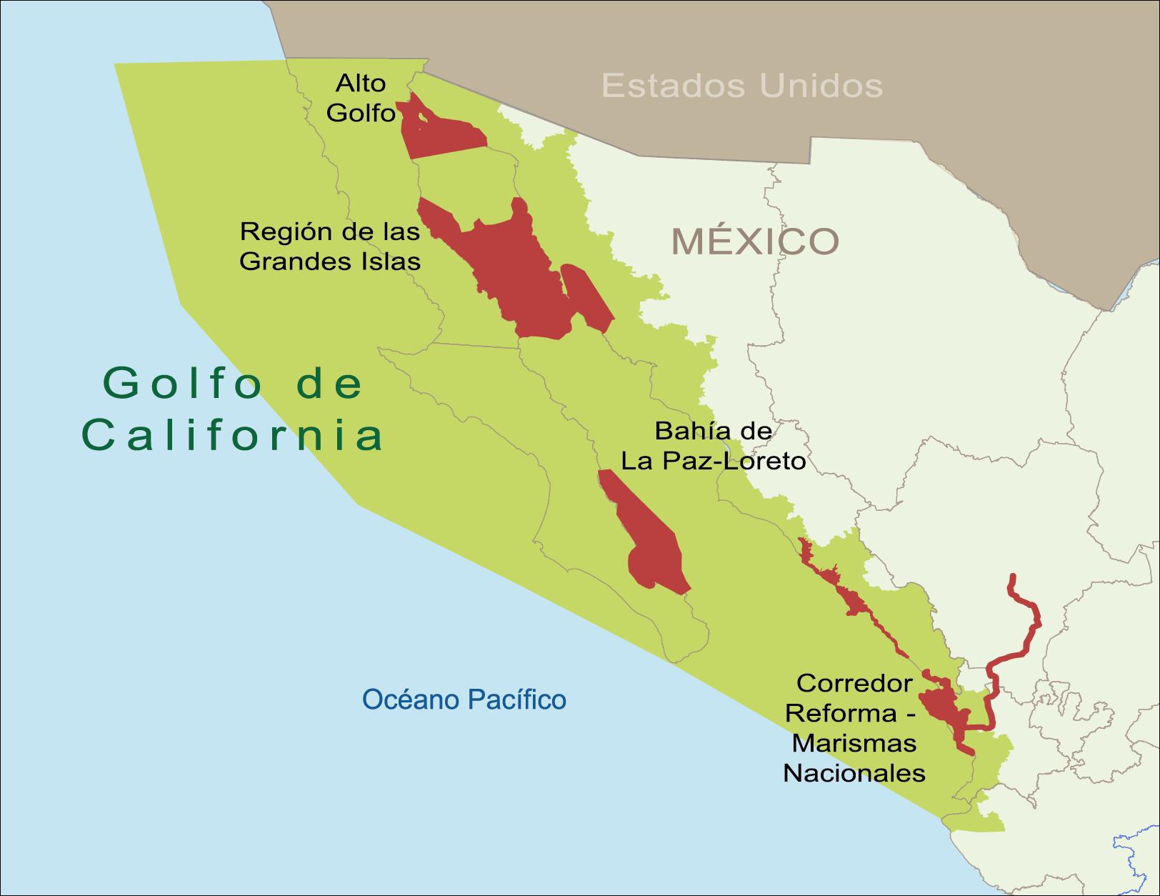 Mapa Golfo de California, áreas de trabajo de WWF México