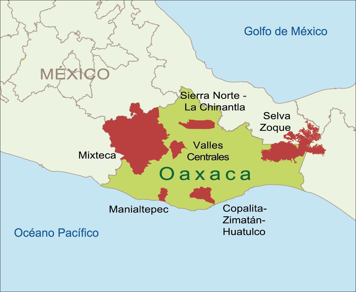 Mapa Oaxaca, áreas de trabajo de WWF México