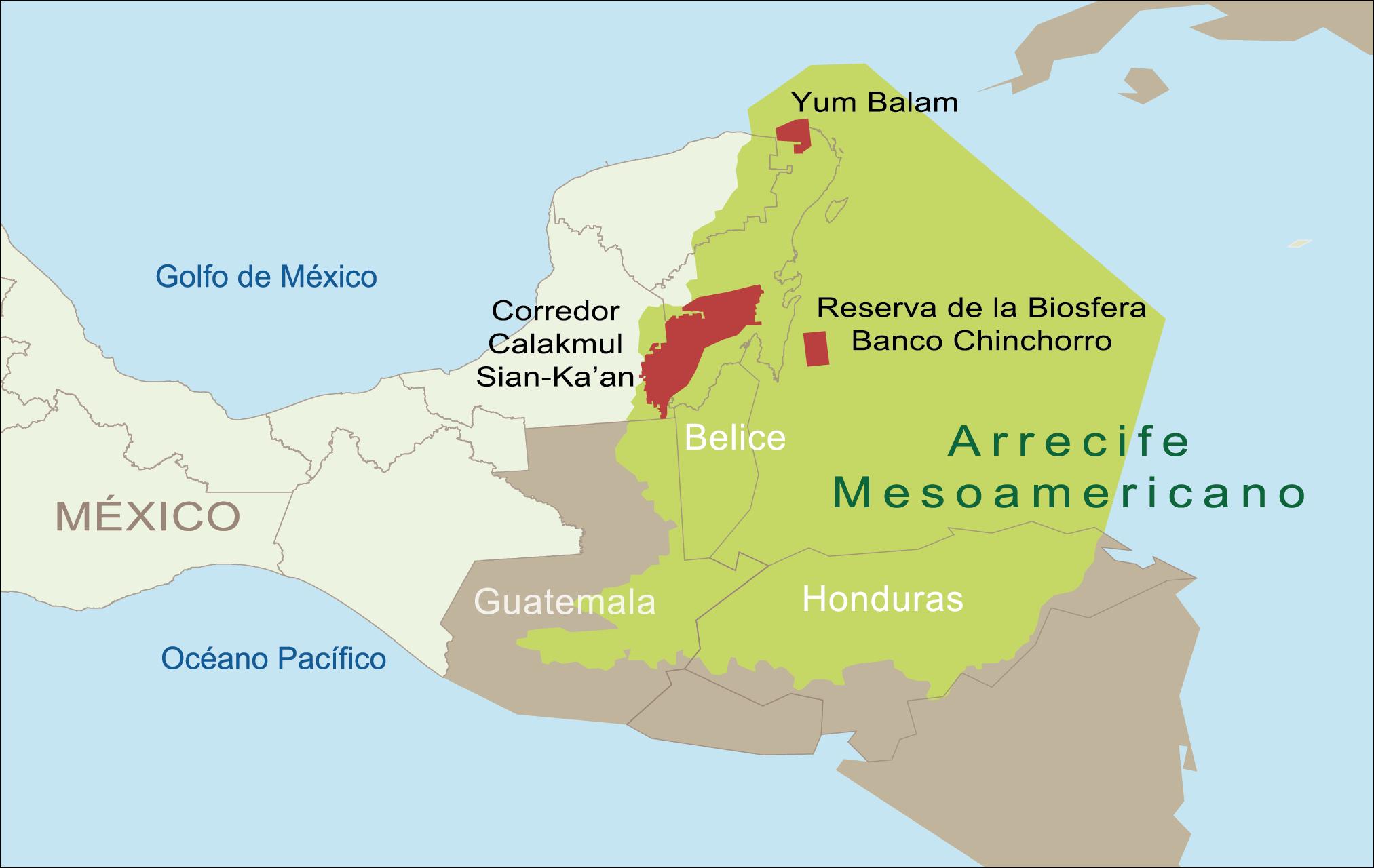 Mapa Arrecife Mesoamericano, áreas de trabajo de WWF México