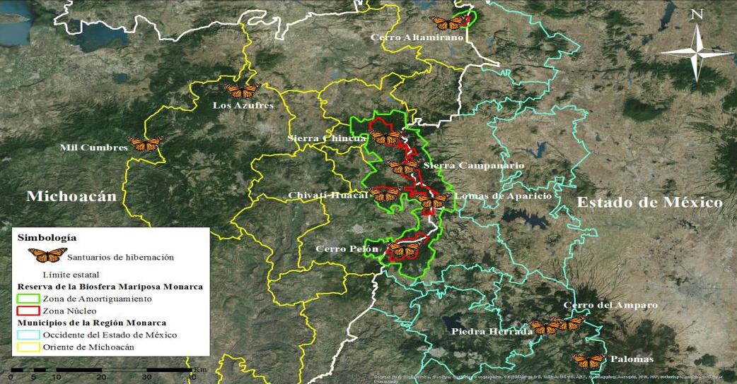 Santuarios de hibernación en la Región Monarca.