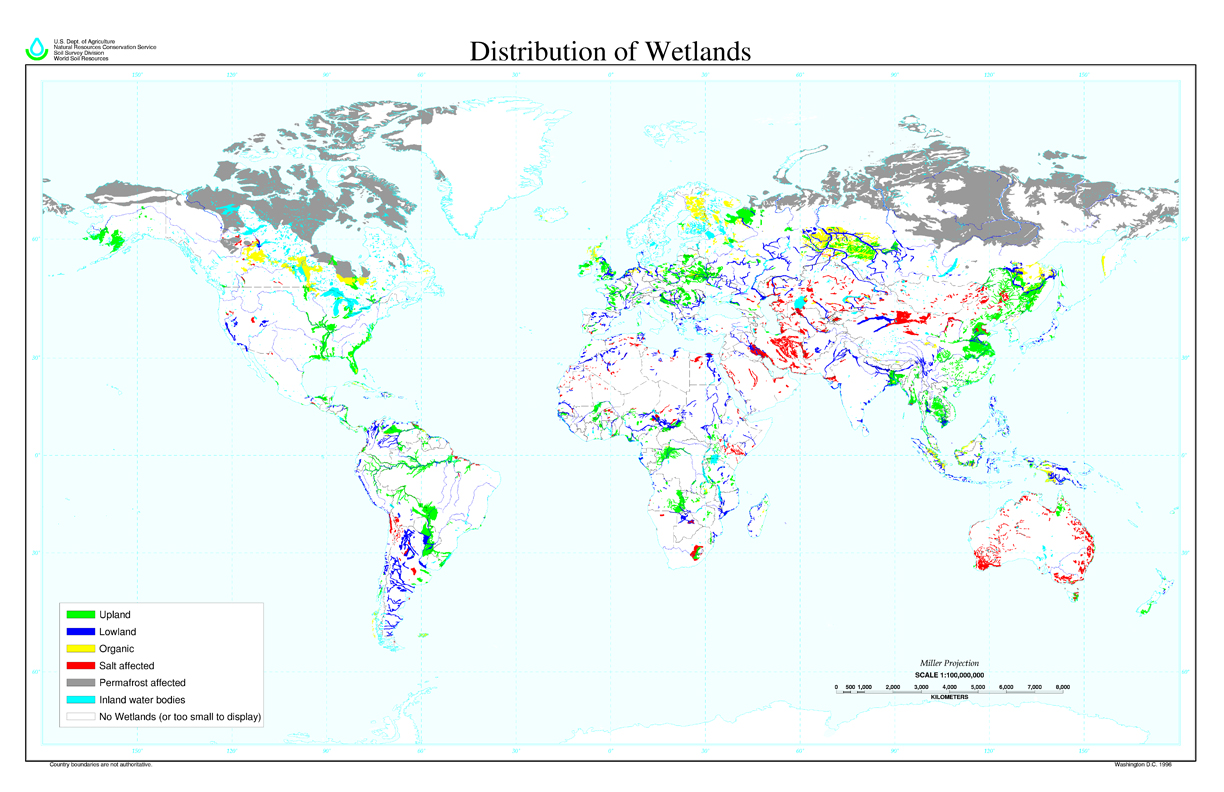 Distribution of wetlands map