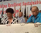 WWF Pacific Representative Kesaia Tabunakawai with Pacific Islands Development Forum interim Secretary General Feleti Teo