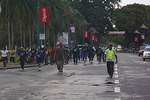 Walking along Victoria Parade, Suva