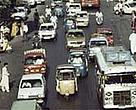 Traffic in Pakistan. One way that WWF tries to help reduce pollution and unnecessary use of natural resources is to encourage employees to use public transport rather than drive to work.<BR>