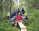 Canon Europe employees participating in a PAN Parks volunteer programme. Volunteers helped repair old and damaged footbridges and build new walkways throughout the park. Fulufjllet, Sweden.