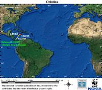 First map locator for Cristina. Click to view an enlarged animated version. The latest positional ... / ©: WWF / CCC