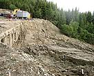 A landslide next to an illegally built ski lift in Rila National Park, Bulgaria