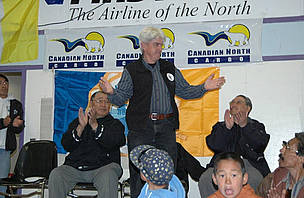 WWF-Canada's Pete Ewins addresses community members in Clyde River, Nunavut during celebrations for the creation of the bowhead whale sanctuary.
