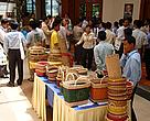 Stakeholders from the Cambodian rattan sector at the exhibit area of the rattan field guide launch.