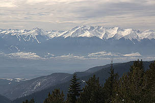 Pirin National Park as seen from Rila National Park