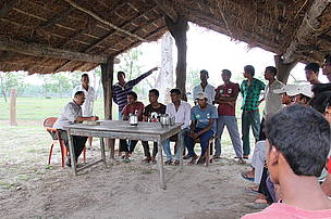 Collecting information from villagers, Bardia National Park, Nepal