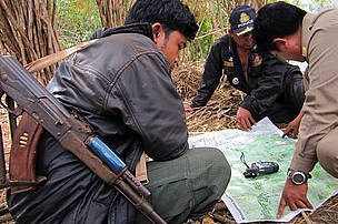 Rangers planning a patrol, Eastern Plains Landscape, Cambodia