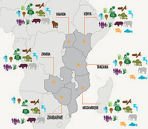 Conservation issues in the WWF-ESARPO region / &copy;: WWF-ESARPO