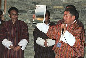 Agriculture Minister, Dr. Pema Gyamtsho (Right) and WWF-Bhutan Conservation Director (Left) during the report launch