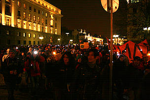 people protest in the night