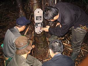 A camera trap is set up / &copy;:  Sameer Singh/WWF AREAS