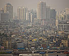 Urban sprawl, Shanghai is going through a rapid development stage, with new buildings quickly replacing old, traditional housing. Shanghai, China.