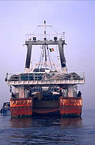 The stern of a Spanish fishing vessel in Senegalese waters  / ©: WWF-Canon / Jo Benn