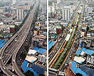 Comparative pictures before and after the Cheonggye-cheon restoration project (left: a highway-decked street, right: a reviving stream)