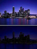Singapore skyline, Earth Hour 2009 © Corbis