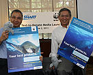Your text protects. Smart Public Affairs head Mon Isberto (left) and WWF-Philippines Vice-Chair and CEO lory Tan (right) lead the launching of the Text-to-Donate project.