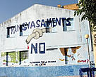 Protest against the Spanish National Hydrological Plan (SNHP) painted on an abandoned house in the Ebro Delta, Spain.