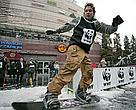 At a WWF action in Poznan, snowboarders performed a series of tricks expressing their support for urgent action against rising temperatures.