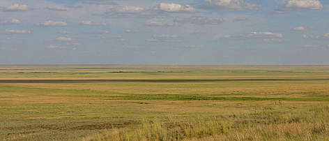 Steppe and wetlands in northern Kazakhstan. rel=