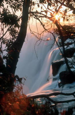 Victoria Falls at sunset, seen from the Zambian side. / &copy;: WWF-Canon / Martin HARVEY