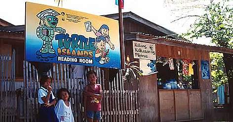 Community education centre set up by WWF Philippines for the Turtle Islands community and ... rel=