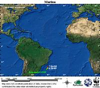 Map locator for this leatherback. Click to view an enlarged animated version. The latest positional ... / &copy;: WWF / CCC
